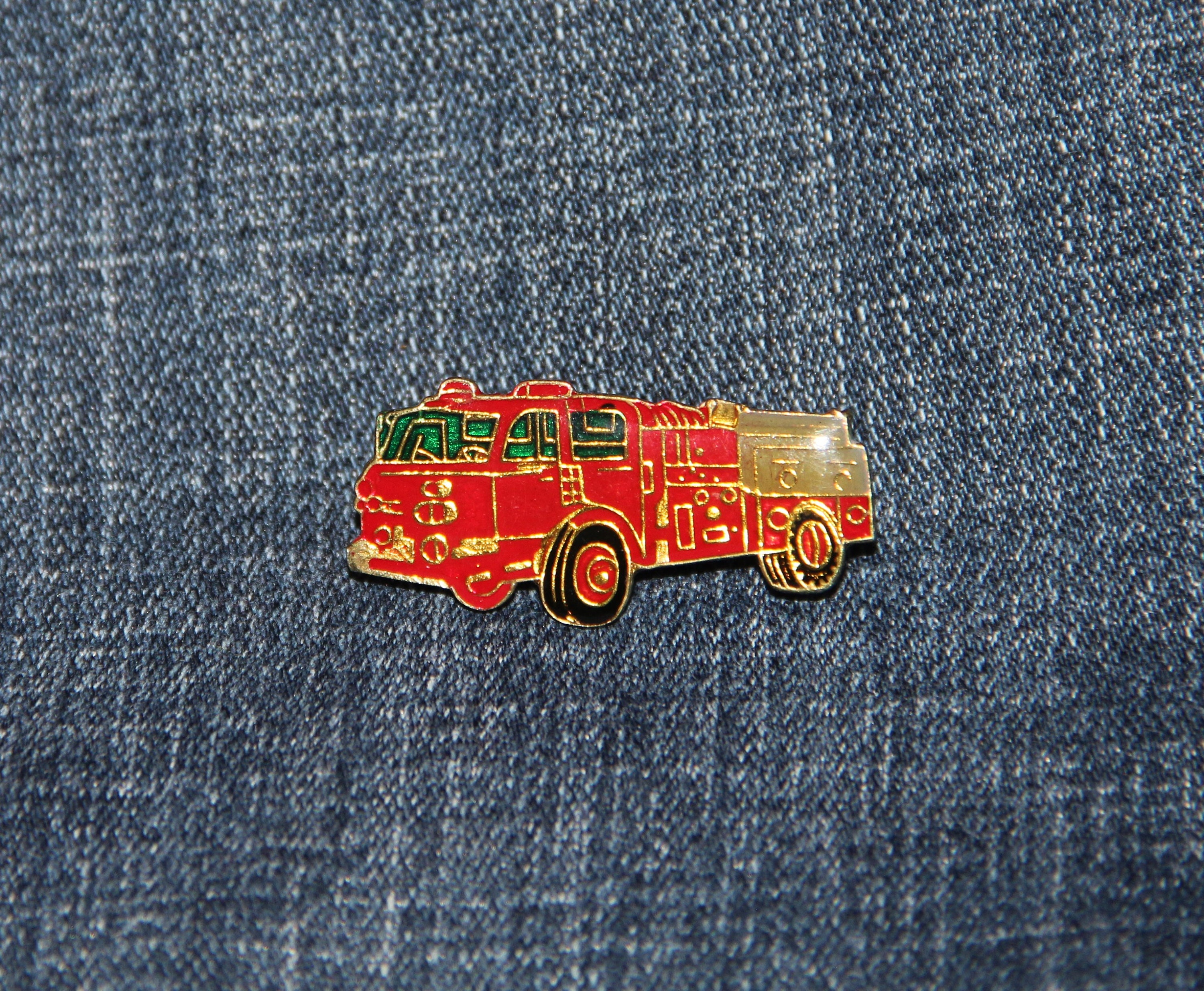 I Love My Truck Vintage Brass and Enamel Pin Hat Pin