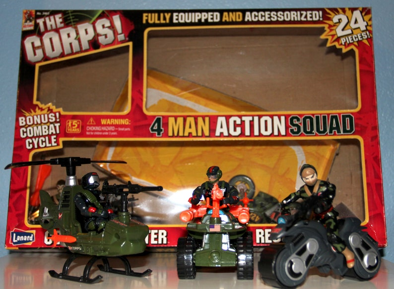 1990s LARGE LOT The Corps 4 Man Action Squad 24 Piece Military Play Set  PLUS Additional Action Figures & Cycle 1999 Lanard Toys