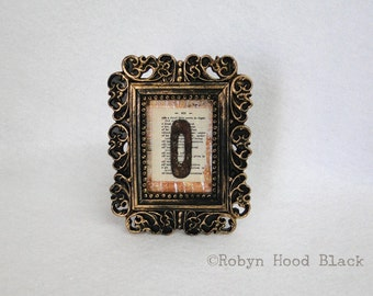 Mini Framed Rustic Letter O on Vintage Dictionary Page