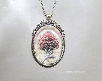 Vintage Pink Floral  Intaglio Glass Large Cabochon over Antique French Manuscript Long Necklace