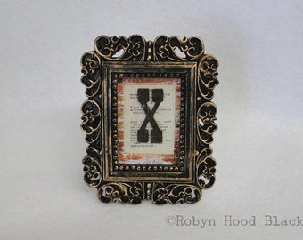Mini Framed Rustic Letter X on Vintage Dictionary Page