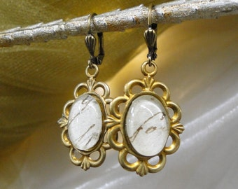 Antique French Handwriting Under Glass in Vintage Fancy Brass Earrings