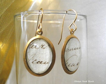 Antique French Handwriting Under Glass in Simple Brass Earrings