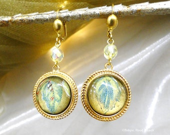 Green and Gold Metallic Leaves under Glass Earrings Antique Images Vintage Brass Settings