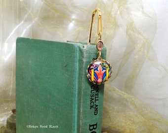 Colorful Celtic Image Bookmark with Vintage Dark Rose Connector