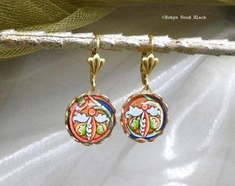 Ancient Celtic Circular Vine Design Images Glass Cab Earrings