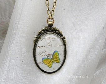 Yellow Butterfly Vintage Intaglio Glass Large Cabochon over Antique French Manuscript Long Necklace