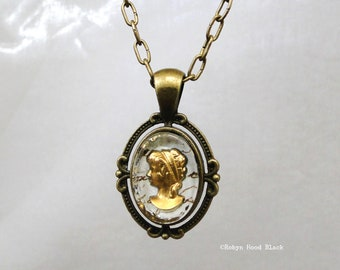 Vintage Gold Intaglio Glass Cameo over Antique French Manuscript Necklace