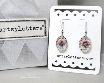 Pink Floral Vintage Intaglio Glass Cabochon & Antique French Writing Earrings