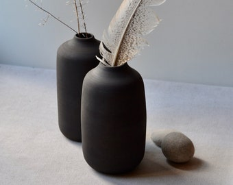 Large Rustic Black Clay Bud Vases, black glaze over black stoneware | Handmade Stoneware Ceramic