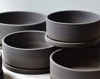CUSTOM for DSLAMPE Black on Black Bonsai pot with base plate   Matte Black Round ceramic Planter    Handmade succulent Planter
