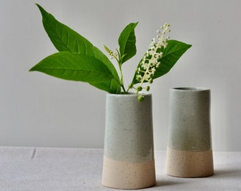 Small Ceramic Bud Vases | Handmade in Speckled Stoneware with Pale Celadon Blue Glaze | Home Decor Pottery