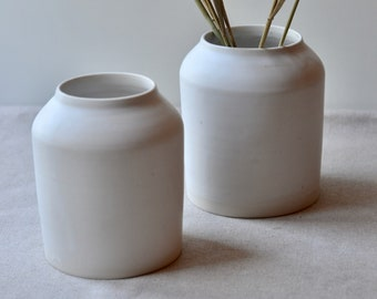 White Stoneware Clay Vases with wide mouth | Handmade Ceramic | Wheel Thrown | Home Decor Pottery