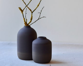 Rustic Black Clay Bud Vases, black glaze over black stoneware | Handmade Stoneware Ceramic | Home Decor Pottery