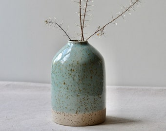 Solid Speckled Clay Bottle Vase - large | Handmade Ceramic with Transparent Blue Glaze | Home Decor Pottery