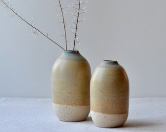 Small Speckled Clay Bud Vase   Handmade Ceramic with Yellow Beige Blue Glaze   Home Decor Pottery