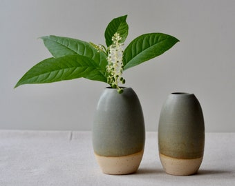 Small Speckled Clay Bud Vase | Handmade Ceramic with Green-Gray-Brown Glaze | Home Decor Pottery