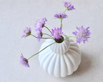 Porcelain Bud Vase | Handcrafted Snow-woman Design | White - Pink Textured Ceramic