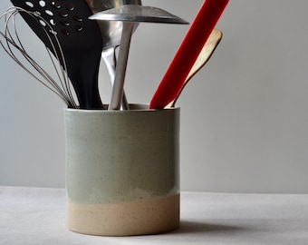 Rustic Speckled clay Utensil Holder, Jar, Pot    Glossy Celadon Blue Transparent Glaze   One of a Kind Pottery    Handmade kitchen Jar