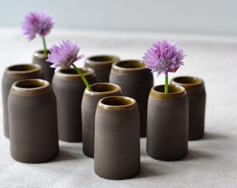 Mini Chocolate Brown Bud Vases with Light Brown Rim | Rustic Handmade Black Stoneware | Home Decor Pottery