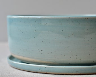 Blue Glossy Transparent glaze over speckled clay Bonsai pot with base plate   Round Ceramic Stoneware Planter   Handmade succulent Planter