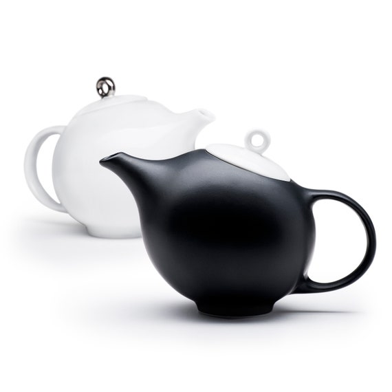 Pottery Modern Stoneware Teapot Handmade White Teapot with Infuser