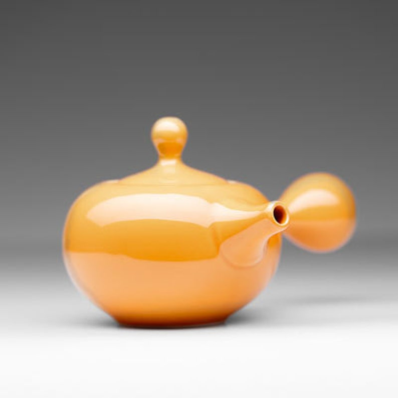 Modern Asian Teapot with Side Handle in Orange  Tangerine  image 0