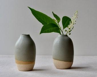 Medium Speckled Clay Bud Vase | Handmade Ceramic with Green-Gray-Brown Glaze | Home Decor Pottery