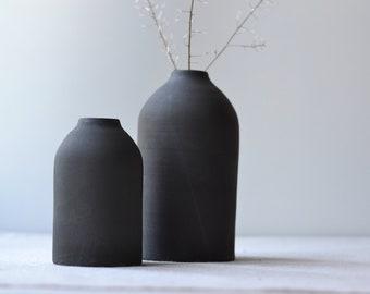 Rustic Black Clay Bottle Vases, Matte black glaze on black stoneware | Handmade Stoneware Ceramic | Home Decor Pottery | Ikebana