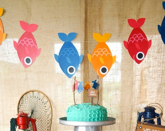 Fishing Party Garland - Fish Garland - Fishing Banner - Instant Download - Editable File