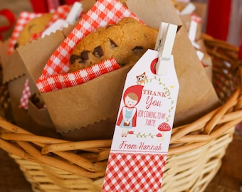 Little Red Riding Hood Favor Tags - Woodland Favor Tags - Instant Download and Edit File at home with Adobe Reader