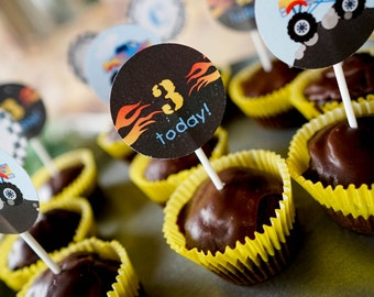 Monster Truck Cupcake Toppers - Monster Truck Birthday Party - Cupcake Toppers - Instant Download - Editable File
