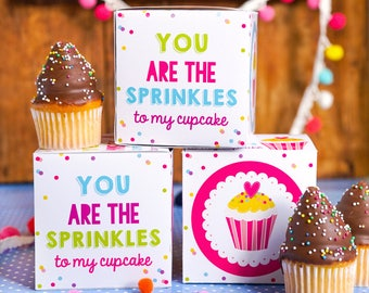 You Are The Sprinkles to my Cupcake Valentine Cupcake Box - Instant Download | Edit with Adobe | Print