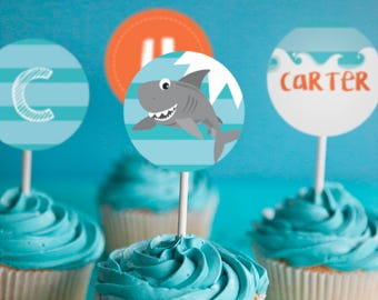 Shark Party Cupcake Toppers - Fishing Cupcake Toppers - Instant Download and Edit File at home with Adobe Reader - Print at home