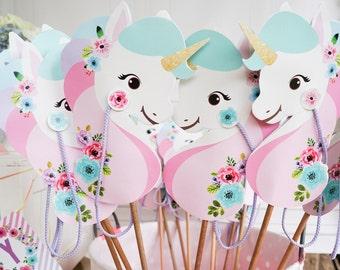 Unicorn Stick Horse Printable - Unicorn Hobby Horse - Unicorn Party Favor - Unicorn Party Game - Instant Download