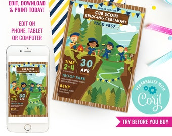 Cub Scout Bridging Ceremony Invitation - Girl and Boy Cub Scout Invitation - Instant Download & Edit File with Corjl
