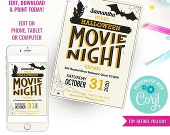 Halloween Movie Night Party Invitation - Halloween Invitation - Movie Night Invitation - Instant Download & Edit File with Corjl