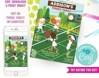 Tennis Party Invitation - Unisex Wimbledon Tennis Party Invitation - Kids Tennis Party Invitation - Instant Download & Edit File with Corjl