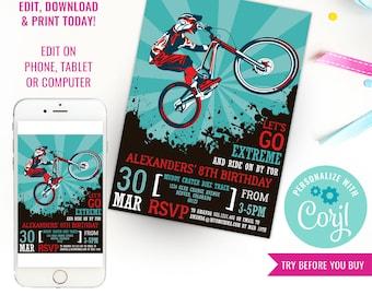 BMX Bike Party Invitation - Mountain Bike Party Invitation - Bike Party Invitation - Instant Download & Edit File with Corjl