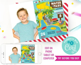 Water Park Party Photo Invitation - Water Slide Party Invitation - Pool Party Invitation - Instant Download & Edit File with Corjl