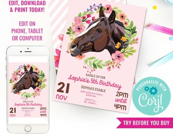 Horse Party Invitation - Horse Birthday Party Invitation - Pink Horse Party Invite - Instant Download & Edit File with Corjl