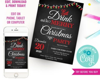 Chalkboard Christmas Party Invitation - Christmas Party - Christmas Celebration - Instant Download & Edit File with Corjl