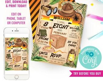 Explorer Party Invitation - Adventure Party Invitation - Jungle Party Invitation - Instant Download & Edit File with Corjl
