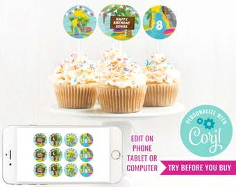 Water Park Girls Birthday Party Cupcake Toppers - Water Slide Party Cupcake Toppers - Summer Party - Instant Download & Edit File with Corjl