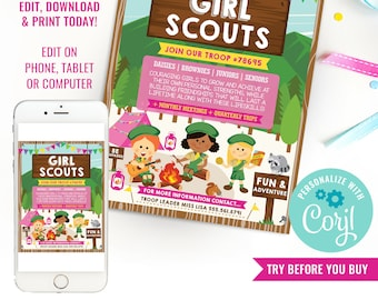 Girl Scouts Recruitment Flyer Printable - Girl Scout Recruitment Poster - Join The Troop Flyer - Instant Download & Edit File with Corjl