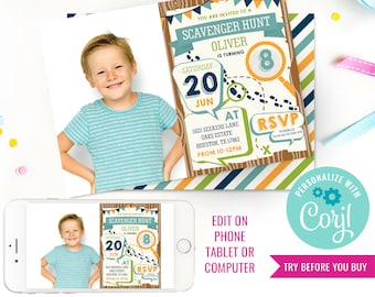Scavenger Hunt Birthday Party Photo Invitation - Boys Detective Party Invitation - Instant Download & Edit File with Corjl