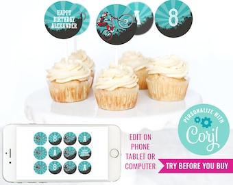 BMX Bike Cupcake Toppers - Mountain Bike Party Cupcakes - Bike Party Cupcake Toppers - Instant Download & Edit File with Corjl