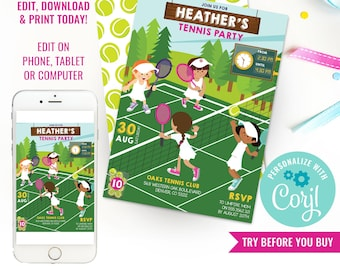 Tennis Party Invitation - Girls Wimbledon Party Invitation - Kids Tennis Party Invitation - Instant Download & Edit File with Corjl
