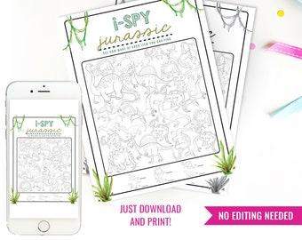 Dinosaur Activity Printable - Dinosaur Games - DIY Printable Dinosaur i-Spy - Jurassic Activity Sheets - Instant Download + Print at home
