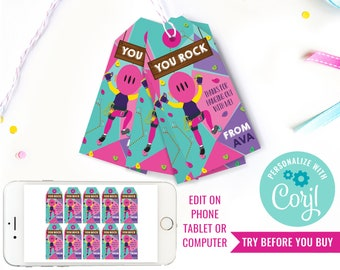 Rock Climbing Party Favor Tag Girls - Indoor Climbing Party Favors - Rock Climbing Party Favor Tags - Instant Download & Edit File in Corjl